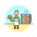 bake, bakery, bread, chef, food, loaf, man, oven icon
