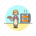 food, bake, bread, oven, woman, bakery, chef