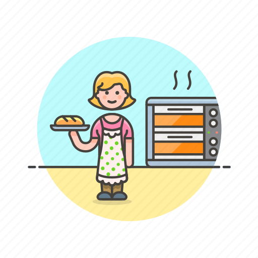 bake, bakery, bread, chef, food, oven, woman icon