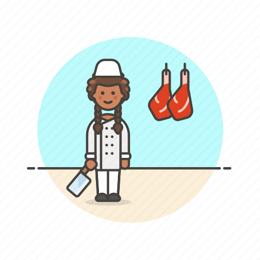 butcher, chop, cut, food, leg, meat, profession, woman icon