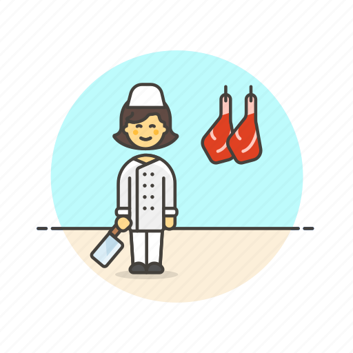 butcher, cut, food, leg, meat, profession, woman icon