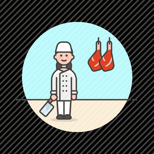 butcher, chef, cut, food, leg, meat, profession, woman icon