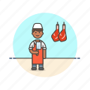 butcher, cut, food, leg, man, meat, profession icon