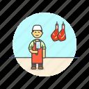 butcher, chop, cut, food, leg, man, meat, profession icon
