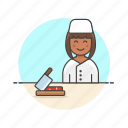 chef, cut, food, kitchen, prep, restaurant, woman icon