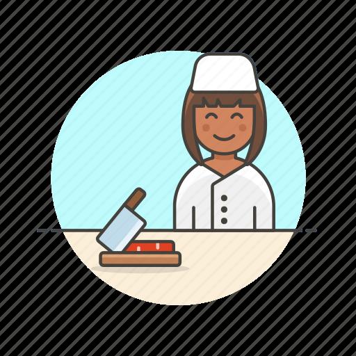chef, cut, food, kitchen, prep, restaurant, woman icon