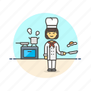 chef, food, cook, woman, egg, oven, boil icon
