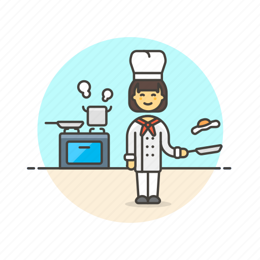 boil, chef, cook, egg, food, oven, woman icon