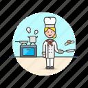 chef, food, cook, egg, woman, stove icon