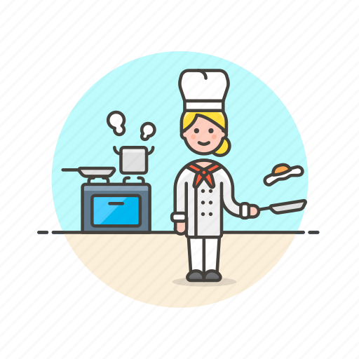 chef, cook, egg, food, stove, woman icon