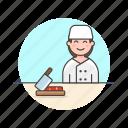 chef, food, cook, cut, woman, chop, prep icon