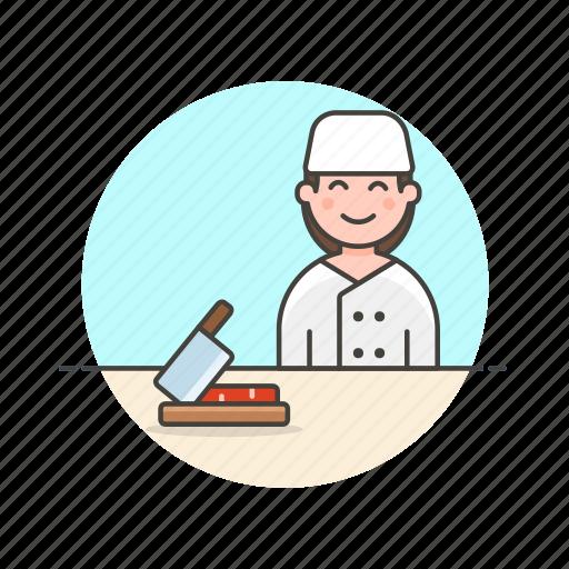chef, chop, cook, cut, food, prep, woman icon