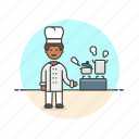 chef, food, cook, man, restaurant, stove, boil icon