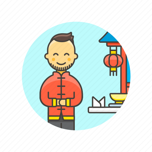 chinese, food, host, man, person, restaurant, welcome icon