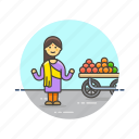 food, fruit, healthy, merchant, street, vendor, woman icon