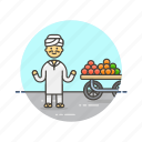 food, fruit, healthy, man, merchant, street, vendor icon