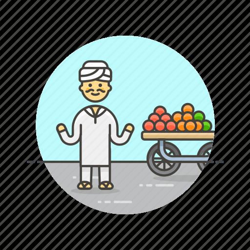 food, fruit, healthy, man, merchant, street, vendor icon
