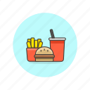 drink, fast, food, fries, hamburger, junk, set, soda icon