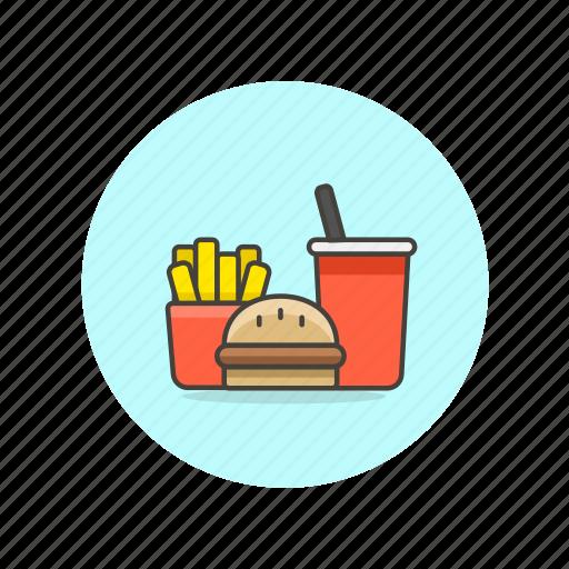 drink, fast, food, fries, hamburger, junk, set, soda icon