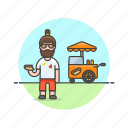 food, cart, hotdog, junk, fast, man, outdoors