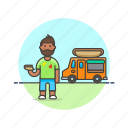 african, american, food, hotdog, male, truck icon