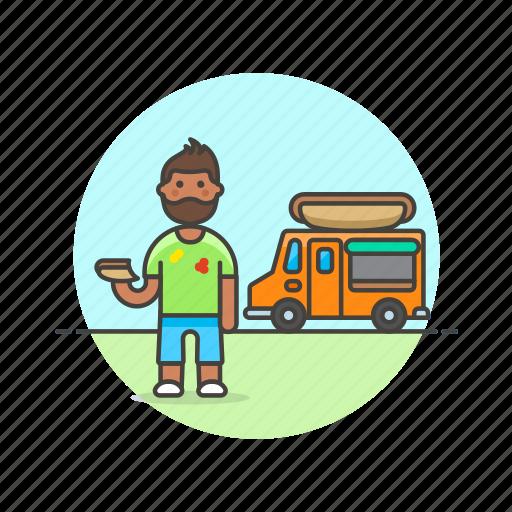 fast, food, hotdog, man, meal, street, truck, van icon