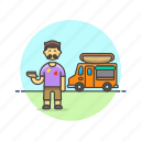 asian, food, hotdog, male, truck icon