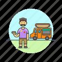 food, hotdog, man, meal, snack, street, truck, van icon