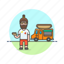 caucasian, food, hotdog, male, truck icon