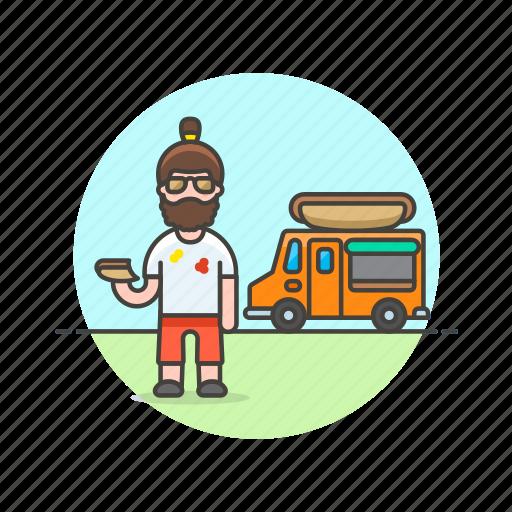 food, hotdog, junk, man, meal, street, truck, van icon