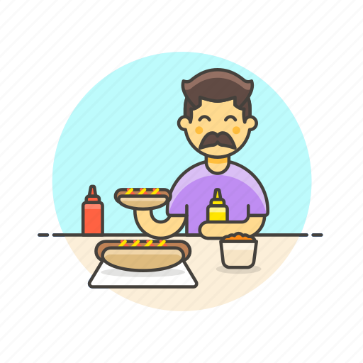 eating, fast, food, hotdog, junk, man, meal icon