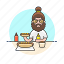 beard, fast, food, hotdog, junk, man, meal icon