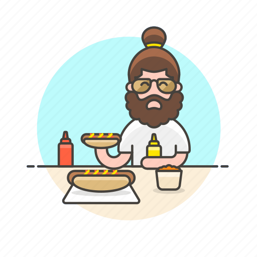 beard, fast, food, hotdog, junk, man, meal icon