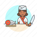 chef, chop, cook, food, japanese, salmon, woman icon