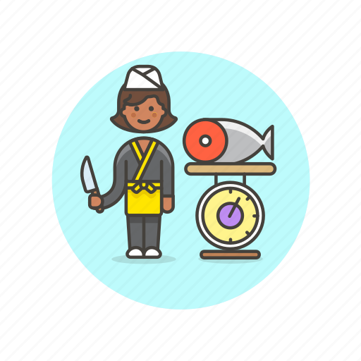 chef, fish, food, japanese, prepare, salmon, weigh, woman icon