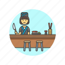 chef, chopsticks, cook, food, japanese, sushi, woman icon