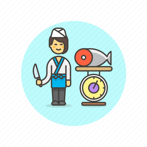 chef, fish, food, prepare, restaurant, salmon, weigh, woman icon