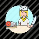 chef, food, japanese, fish, woman, restaurant, salmon