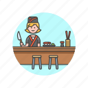 chef, food, japanese, cook, woman, chopsticks, sushi icon