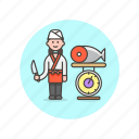 chef, fish, food, japanese, salmon, weigh, woman icon