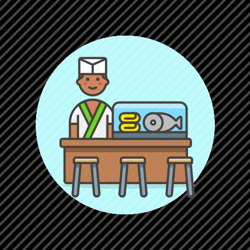 bar, chef, fish, food, japanese, man, restaurant icon