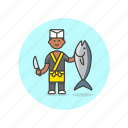 chef, cook, fish, food, man, prepare, restaurant, salmon icon