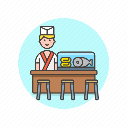 chef, cook, fish, food, japanese, man, restaurant icon