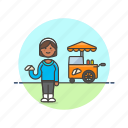 cart, fast, food, junk, outdoors, sandwich, woman icon
