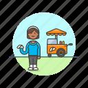 cart, fast, food, junk, outdoors, sandwich, woman icon