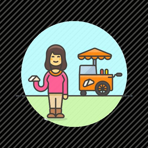 cart, food, meal, sandwich, snack, street, van, woman icon