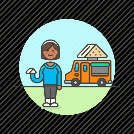 food, meal, sandwich, snack, street, truck, van, woman icon