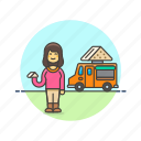 food, meal, sandwich, snack, street, truck, van, woman icon