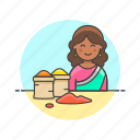 flavor, food, gastronomy, merchant, restaurant, spice, woman icon
