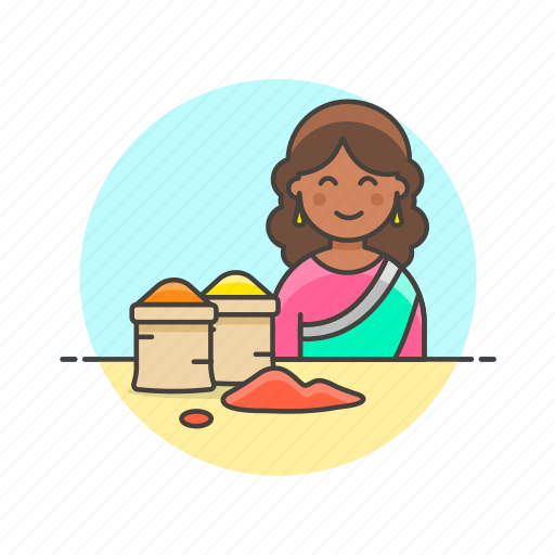 flavor, food, gastronomy, merchant, restaurant, spice, woman icon